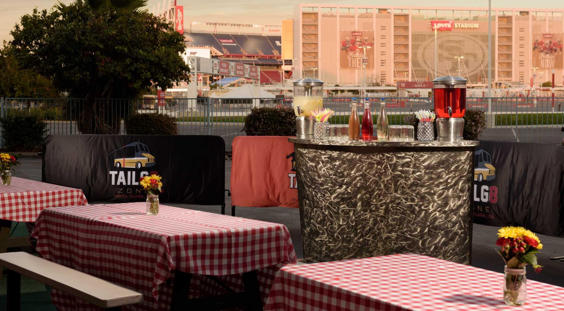 View of Tailg8truck setup outside the Hilton Santa Clara Hotel.