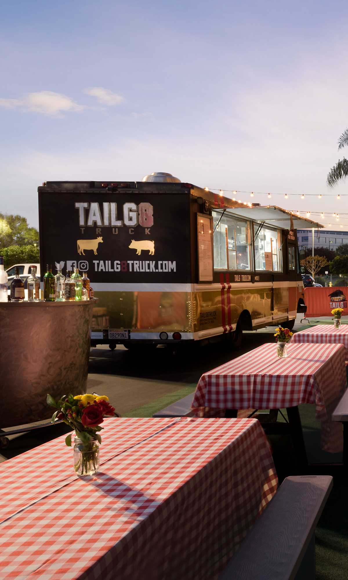 View of Tailg8truck setup outside the Hilton Santa Clara Hotel.